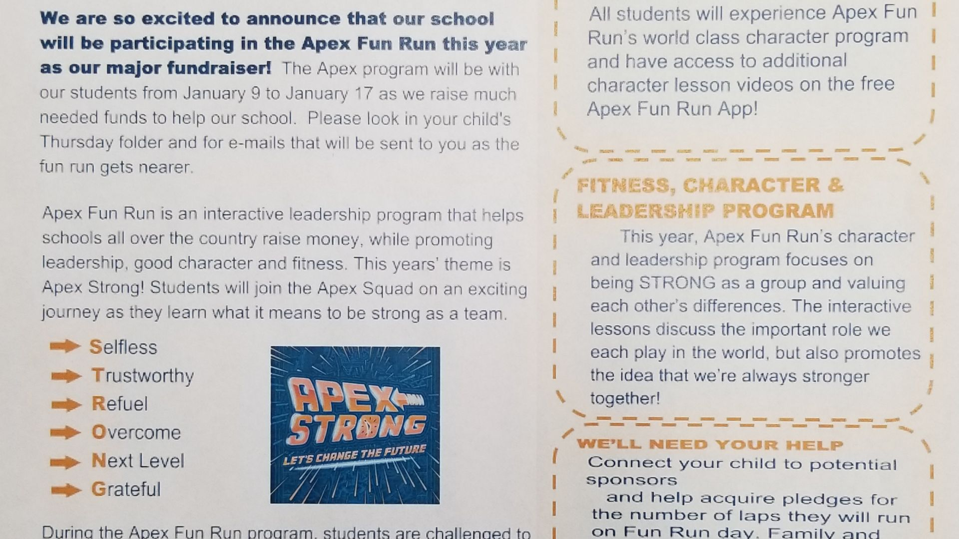 APEX Fun Run Information Letter
