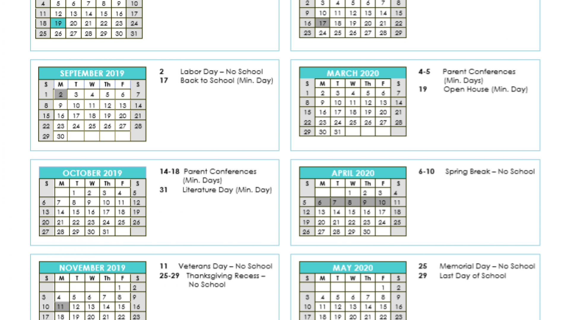 2019-2020 SPCS Oceanside School Calendar